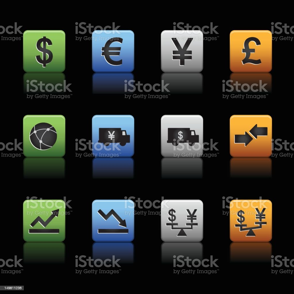 Global finance trading currency icons vector art illustration