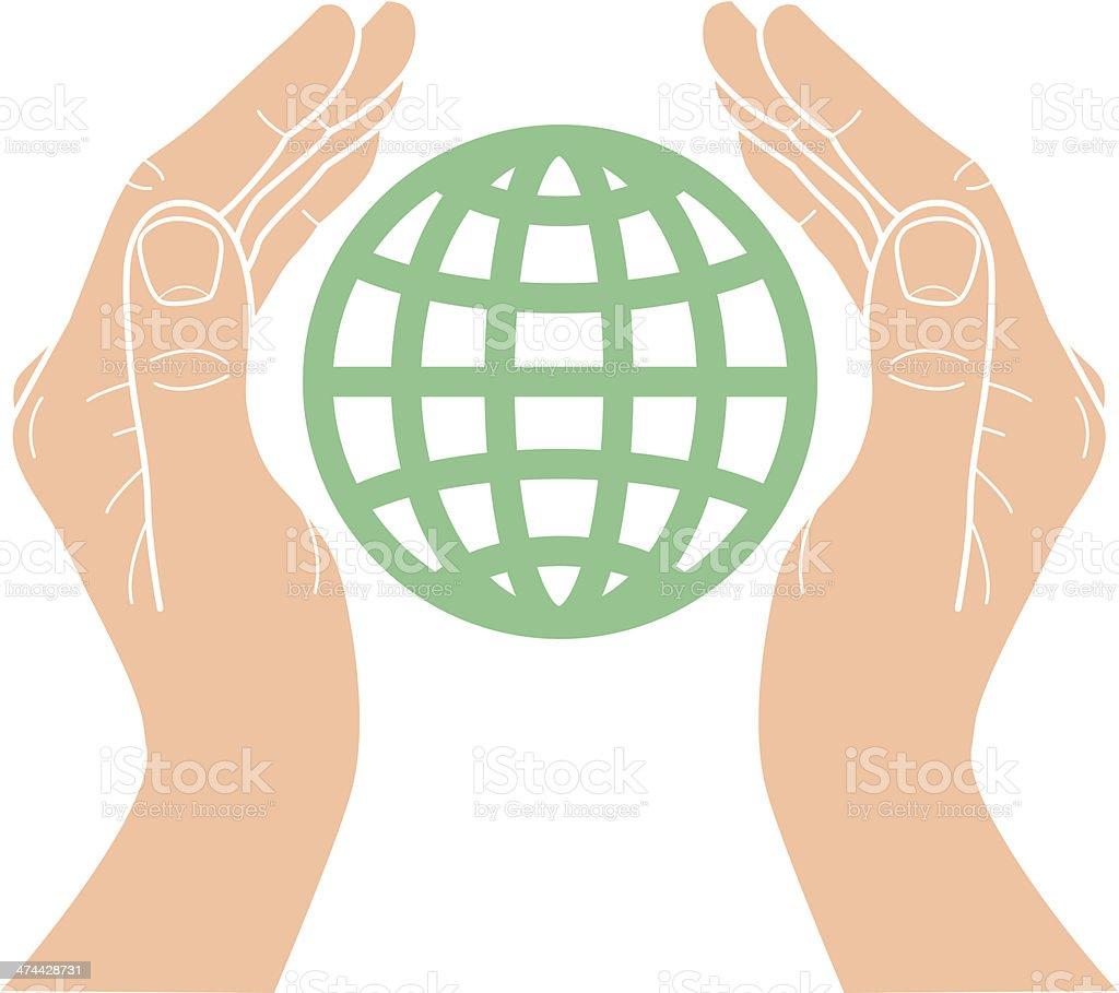 Global hands vector art illustration