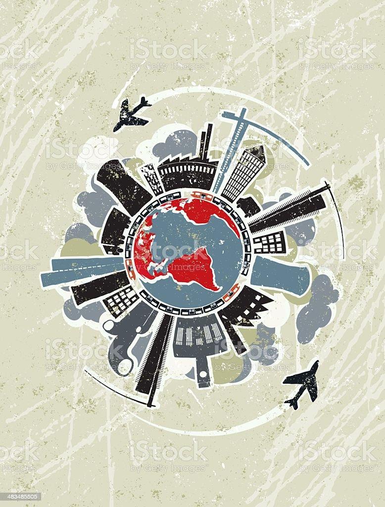 Global Industrial Pollution vector art illustration