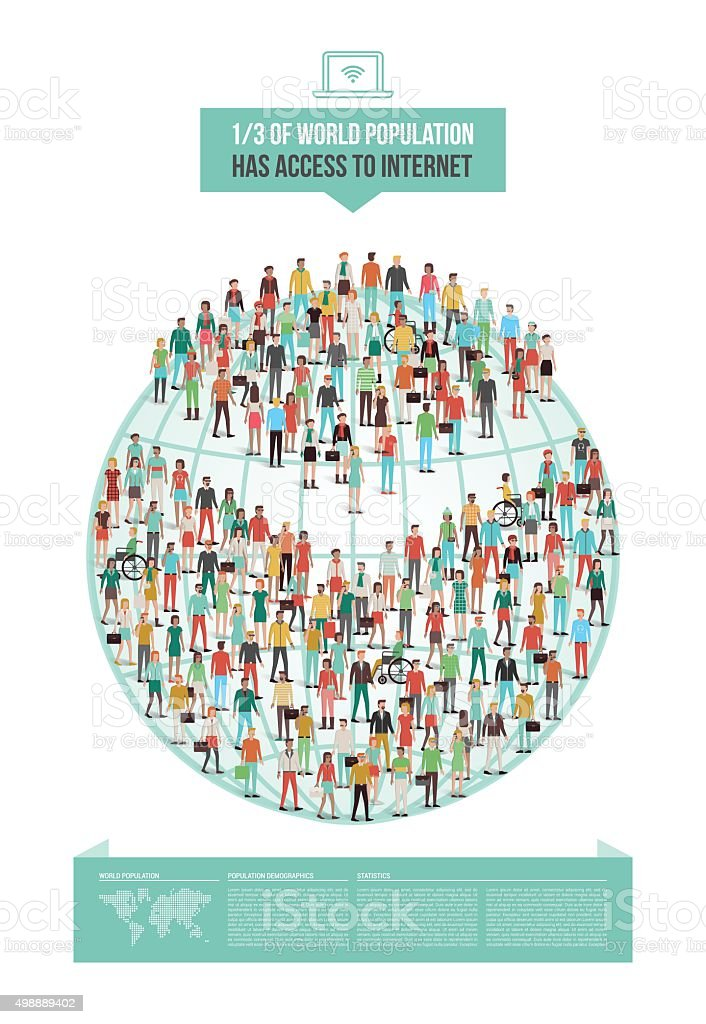 Global internet usage vector art illustration