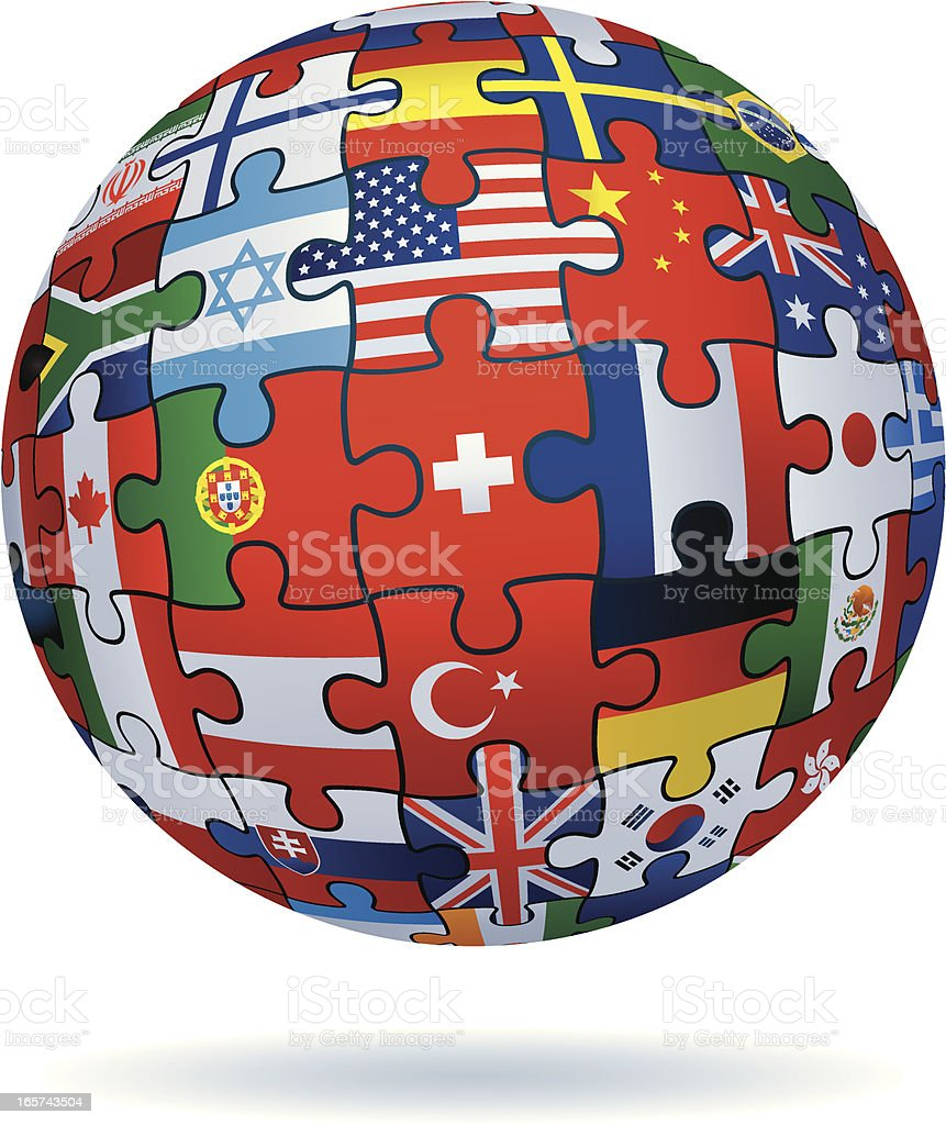 global jigsaw with flags royalty-free stock vector art