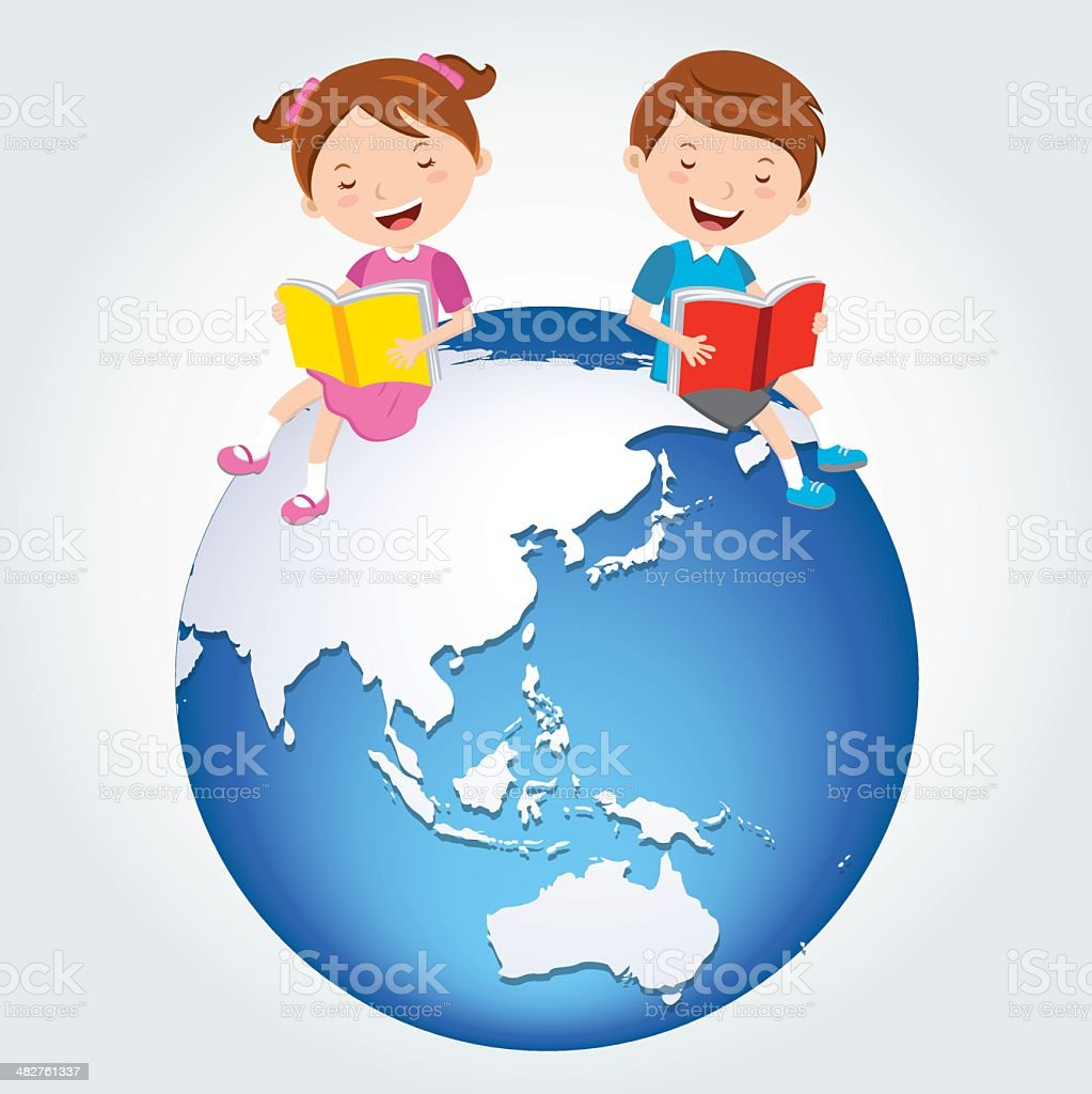 Global kids reading, Asia Continents. royalty-free stock vector art