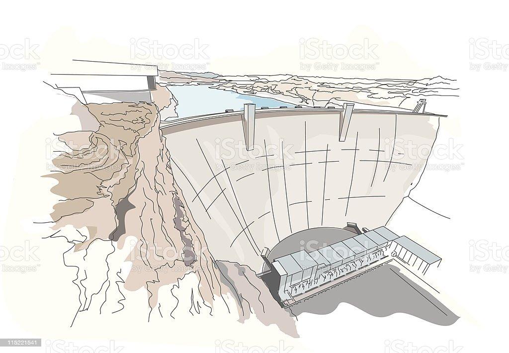 Global landmarks - dam royalty-free stock vector art