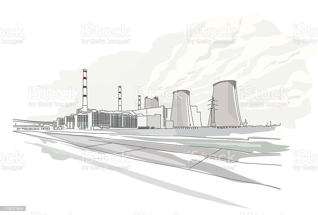 global landmarks - power station royalty-free stock vector art