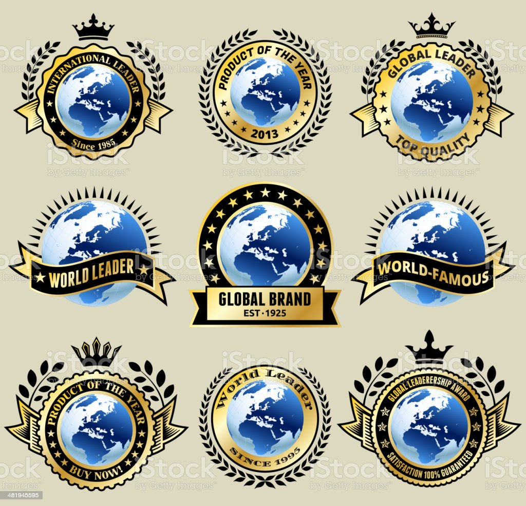 Global Leader Gold badges set royalty-free stock vector art