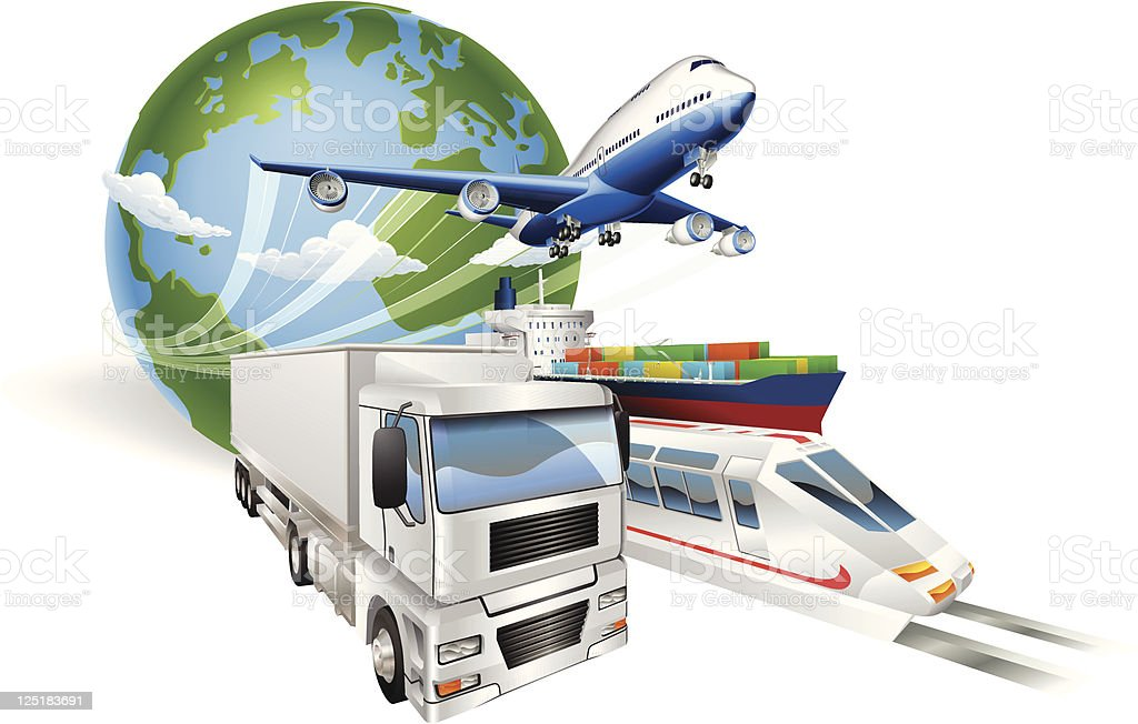 Global logistics concept airplane truck train ship royalty-free stock vector art