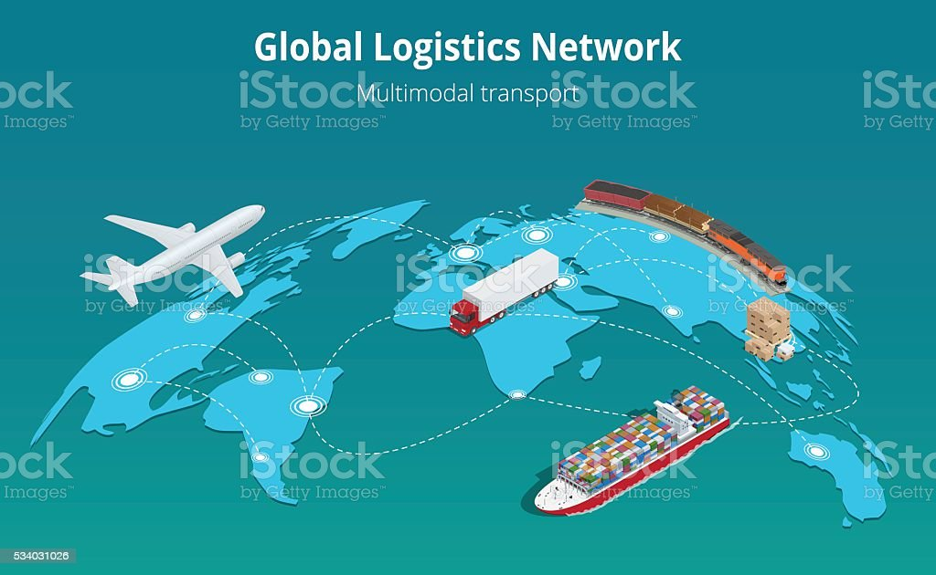 Global logistics network vector art illustration