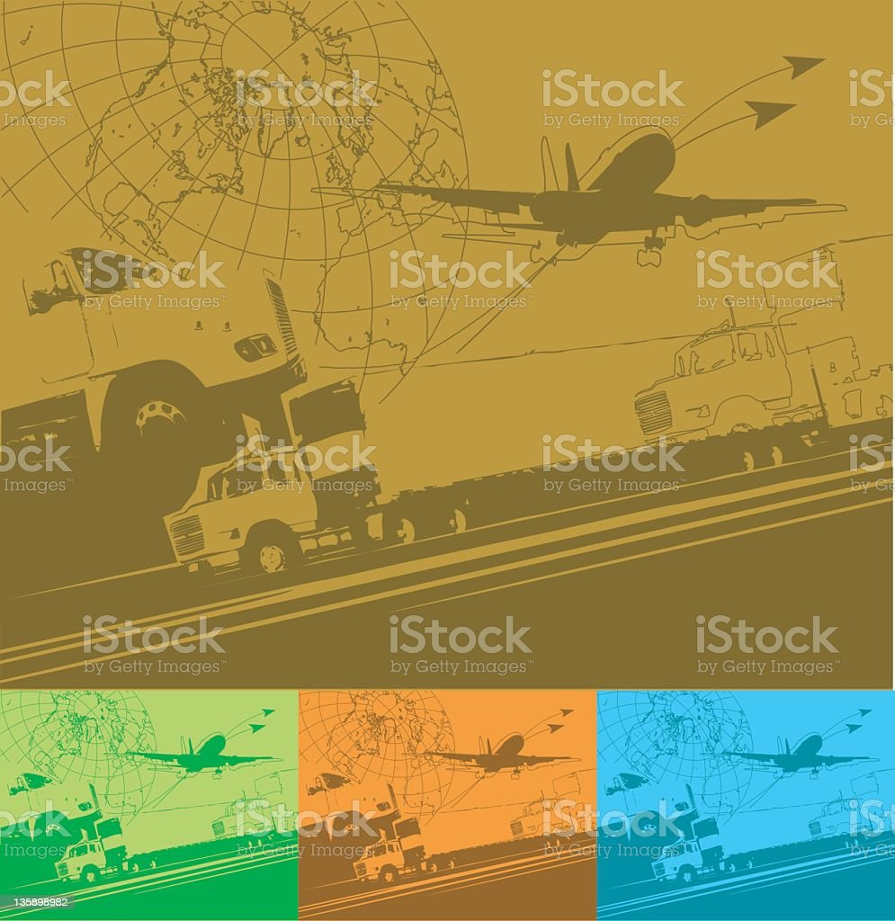 Global logistics sign with globe, truck, and plane royalty-free stock vector art