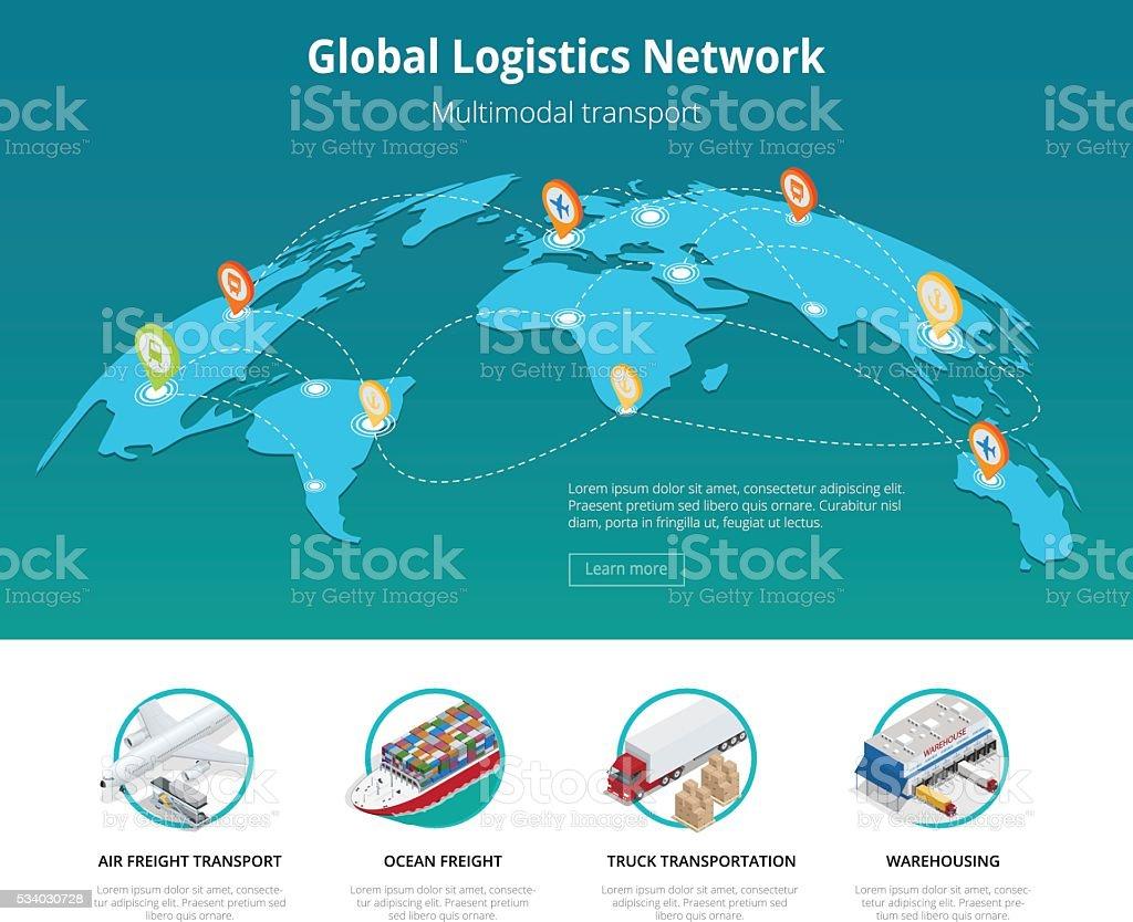 Global logistics vector art illustration