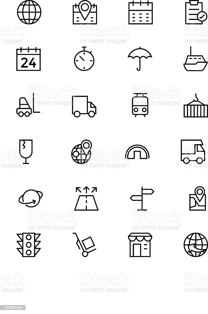 Global Logistics Vector Line Icons 1 vector art illustration