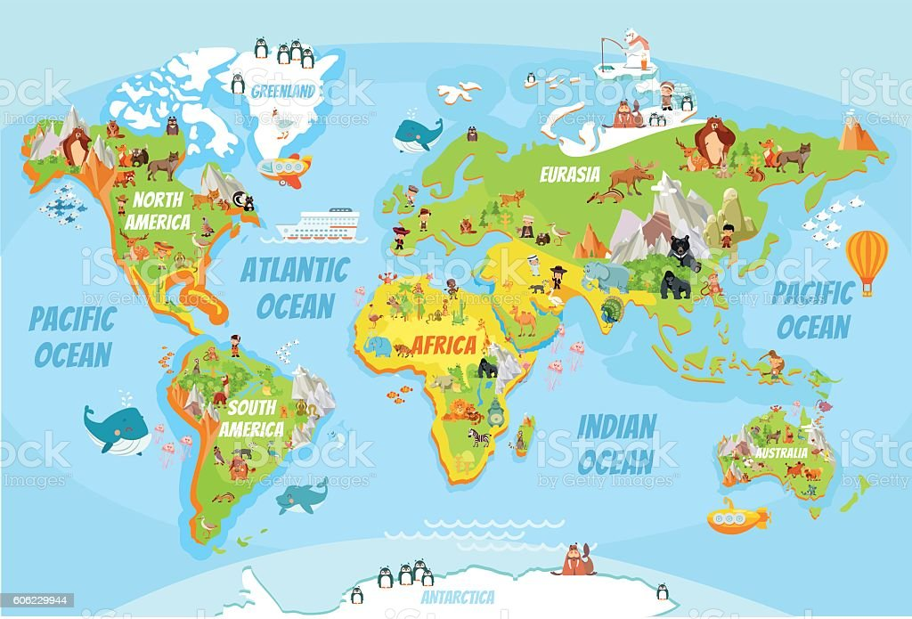 Global map with cartoon animals vector art illustration