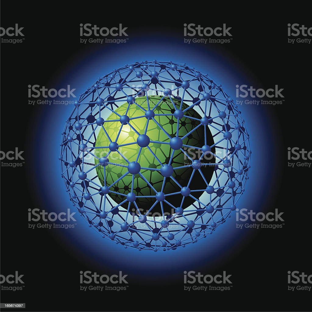 Global Network around a Green Globe royalty-free stock vector art