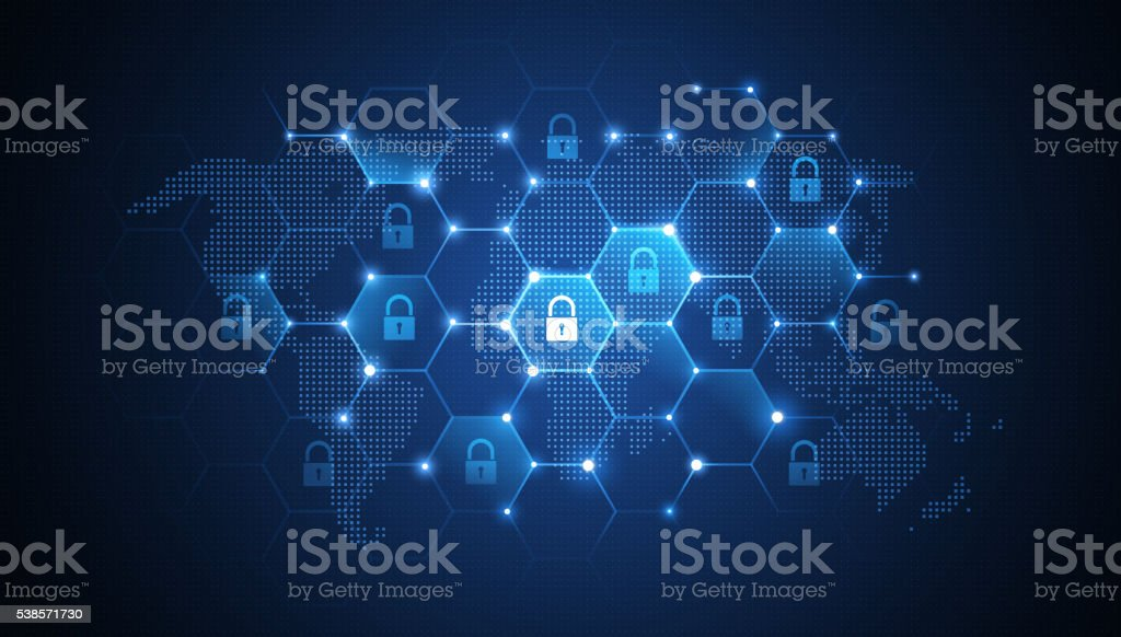 Global network security vector art illustration