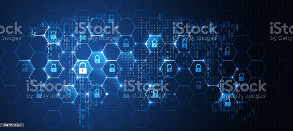 Global network security. Vector vector art illustration