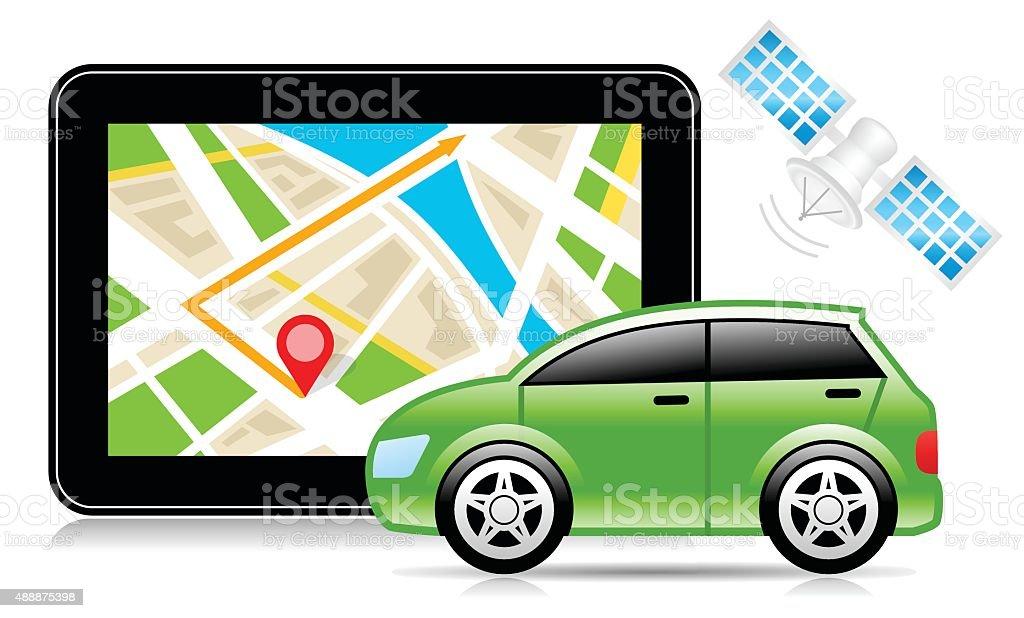 GPS, Global Positioning System, City Map, Navigation vector art illustration
