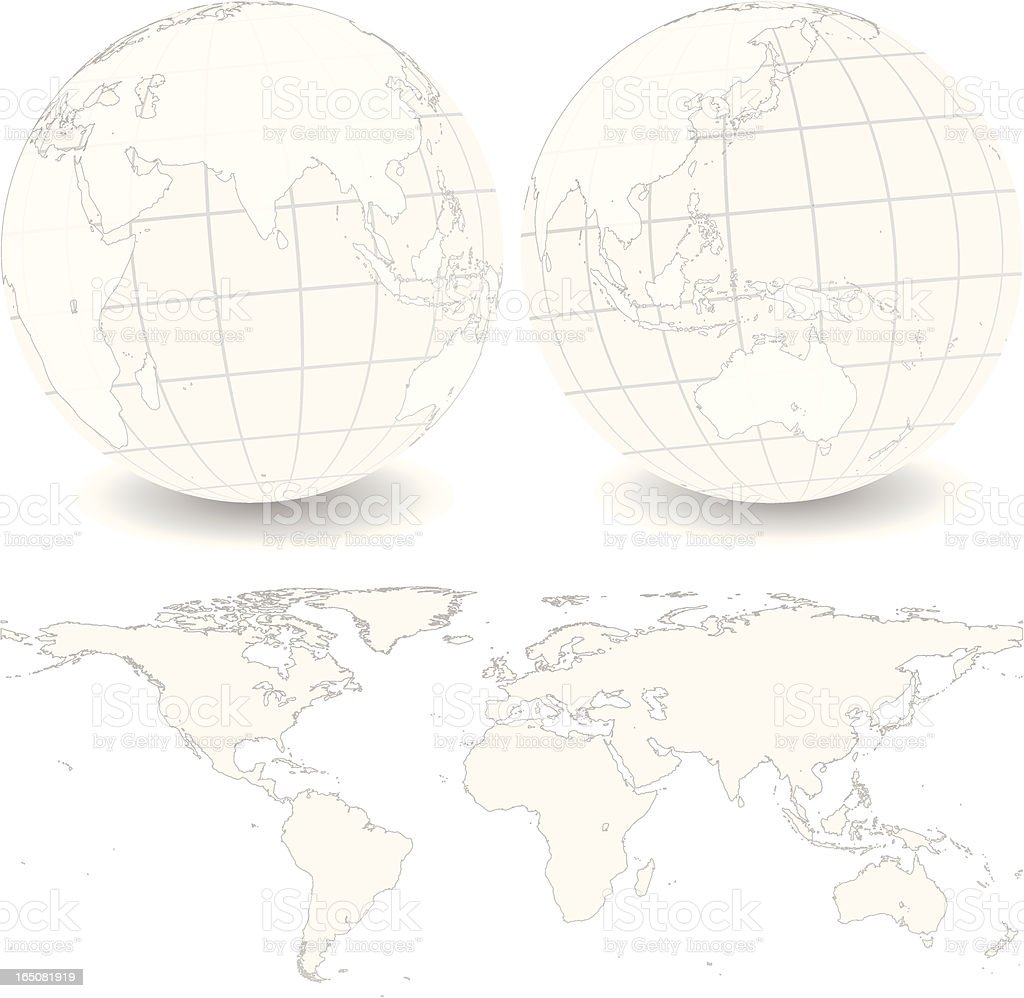 Global Set with Map Series - Asia and Australia royalty-free stock vector art