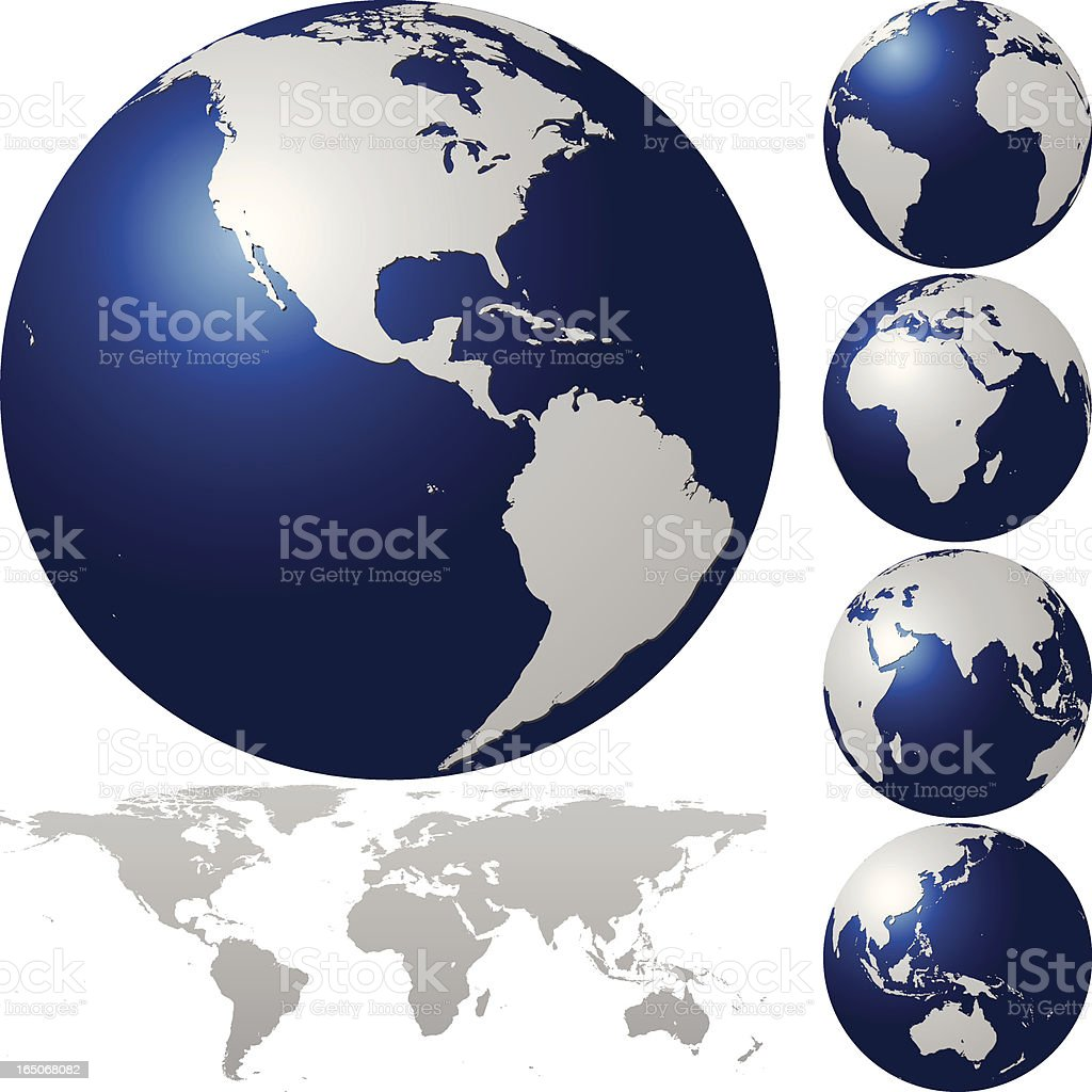 Global Set with Map Series royalty-free stock vector art