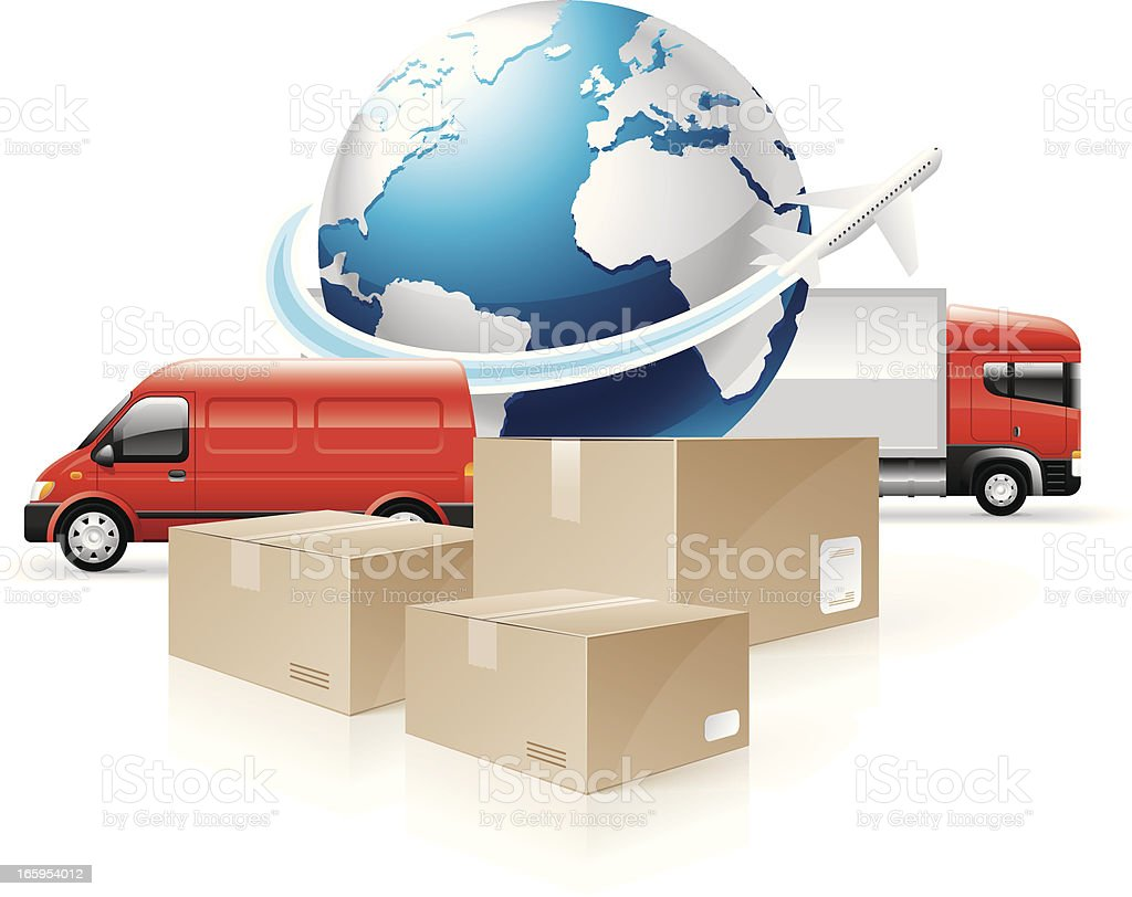 Global shipping concept with globe, packages and trucks vector art illustration