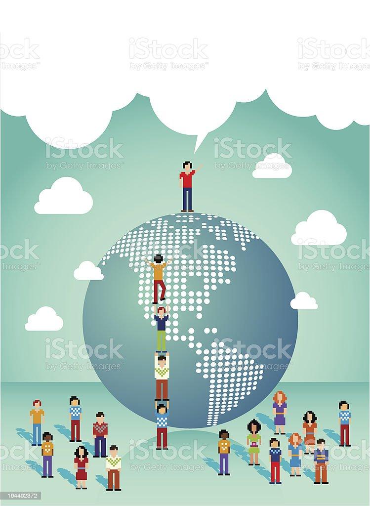 Global Social media people from America vector art illustration