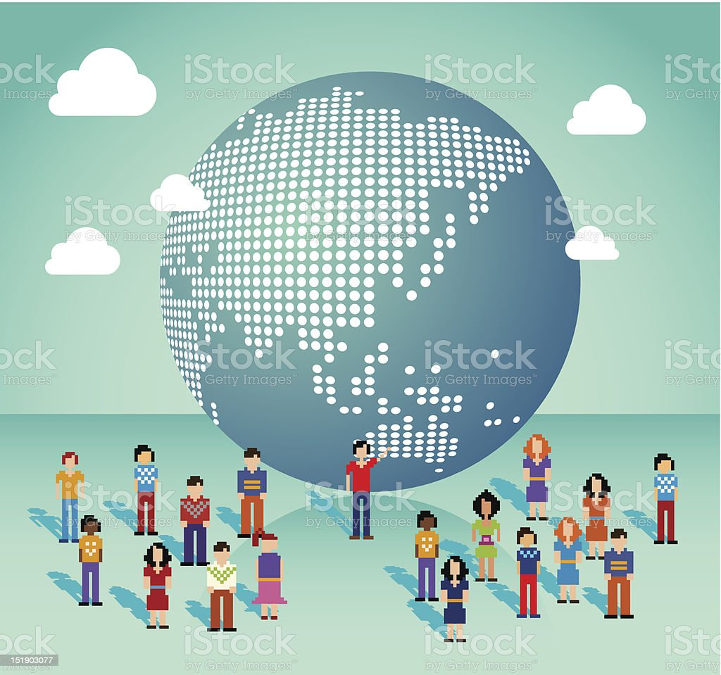 Global Social media people from Asia vector art illustration
