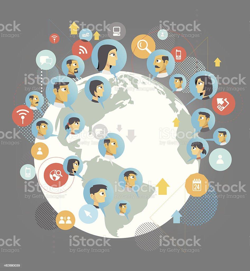 Global social network royalty-free stock vector art