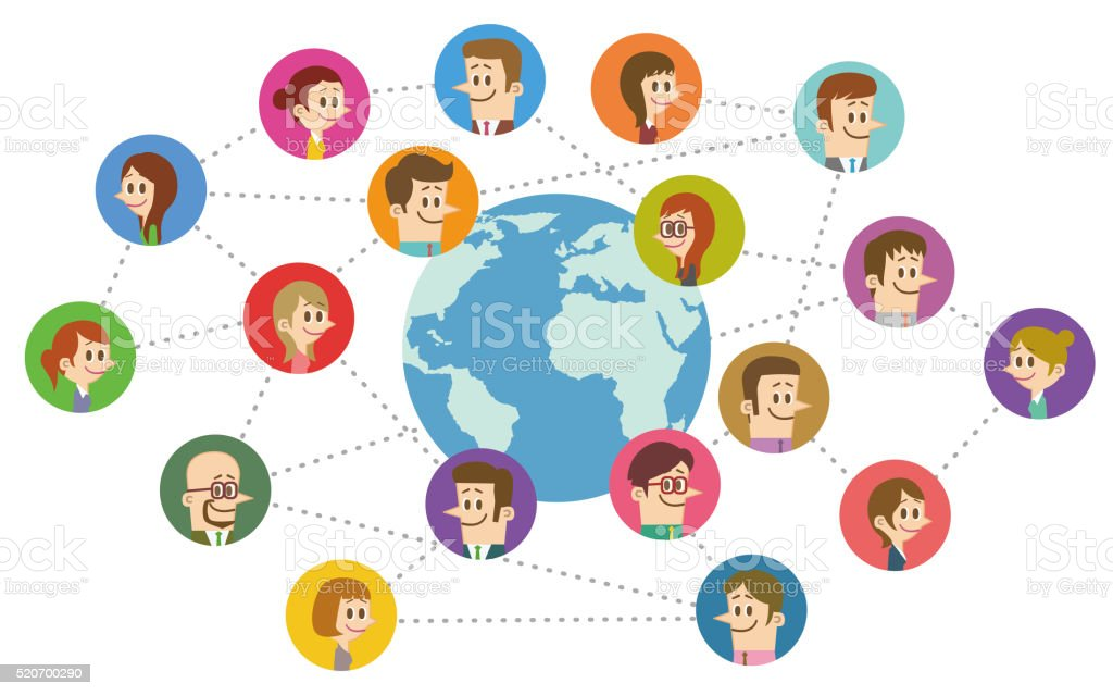 Global social network vector art illustration