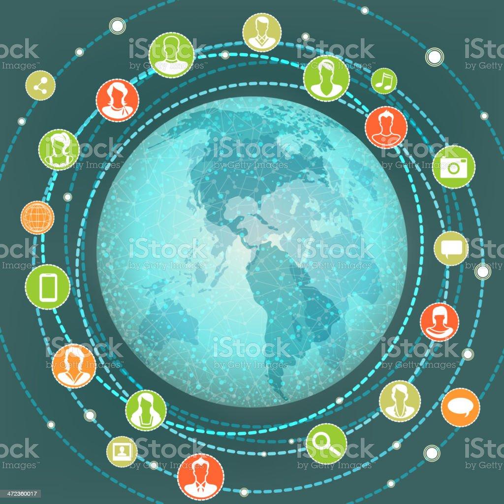 Global Social Networking vector art illustration