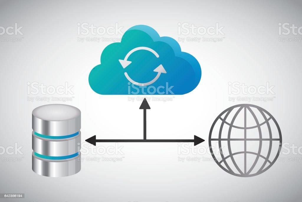 Global sphere data center web hosting. Vector graphic vector art illustration