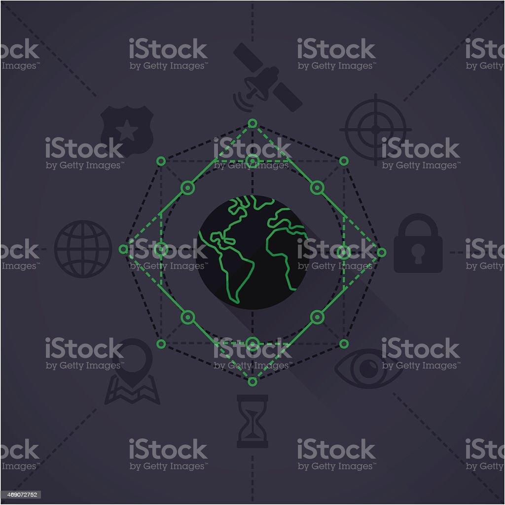 Global Surveillance vector art illustration