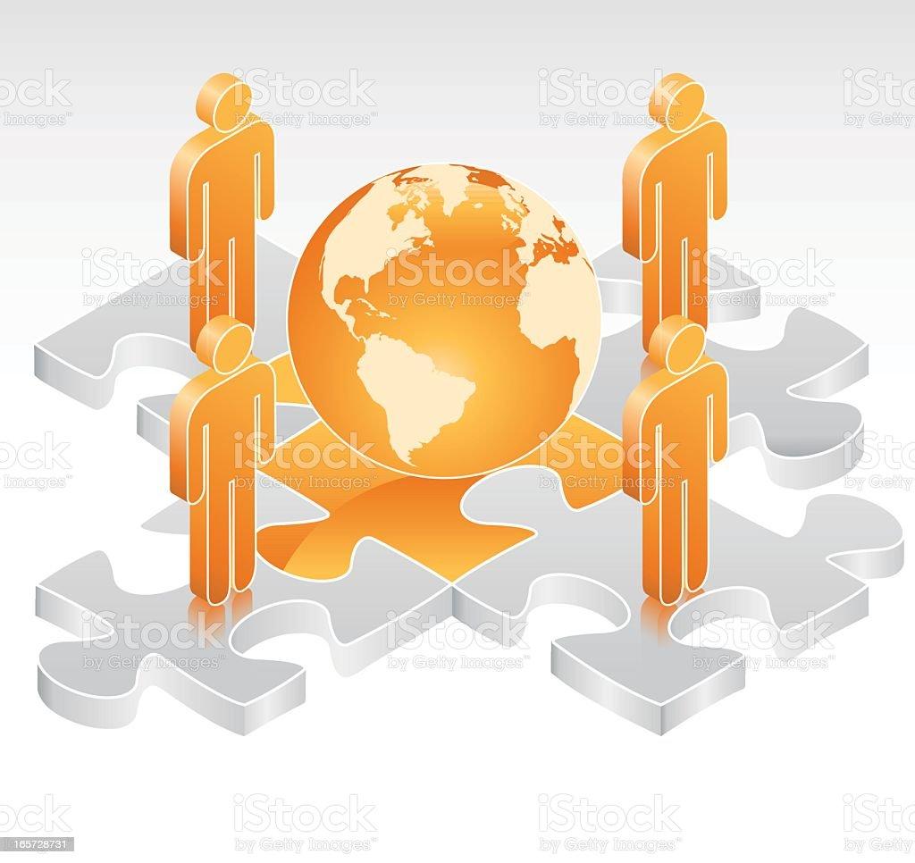 Global Team Jigsaw royalty-free stock vector art