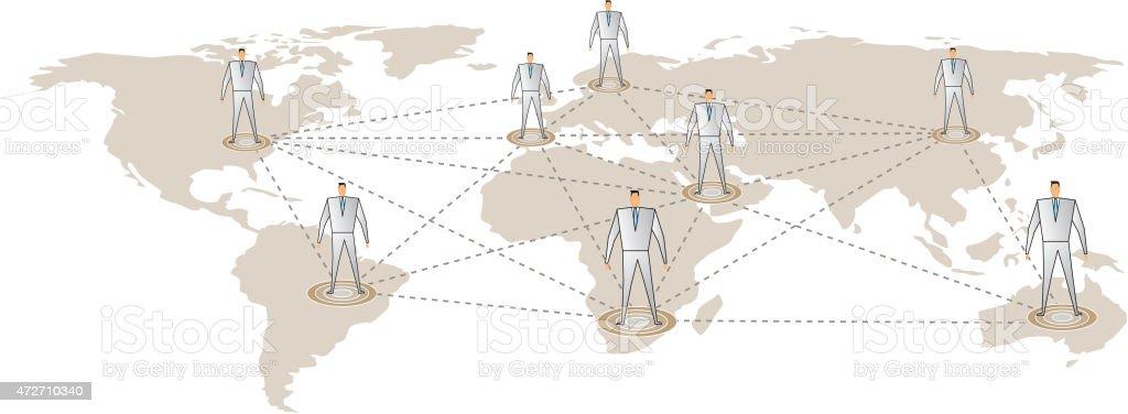 Global team vector art illustration
