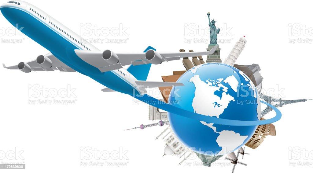 Global travel vector art illustration