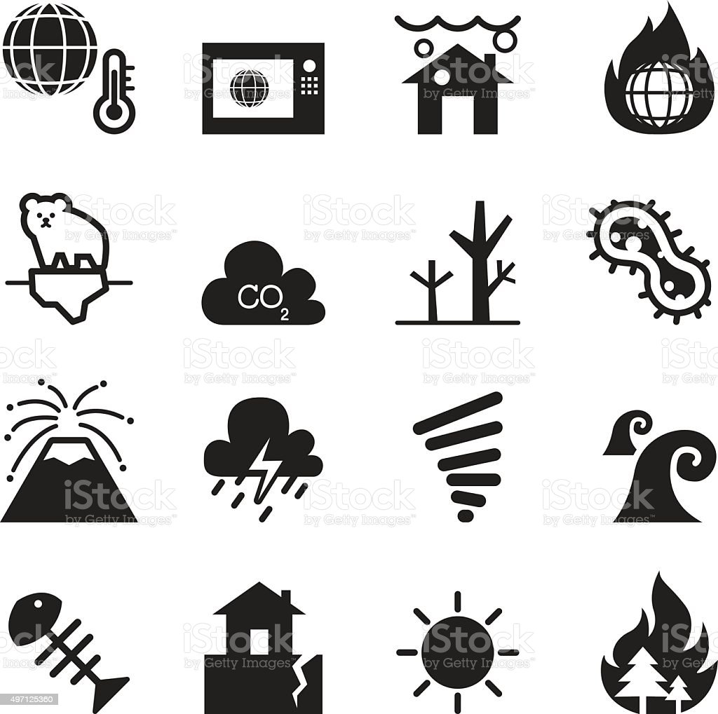 global warming , Disaster , catastrophe icons set Collection Vector vector art illustration