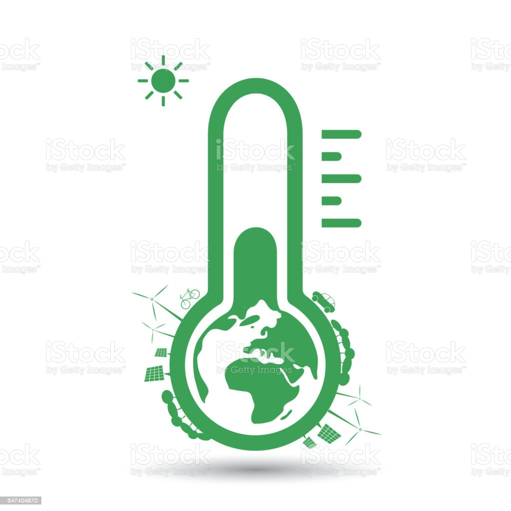 Global Warming, Ecological Problems - Thermometer Icon Design Concept vector art illustration