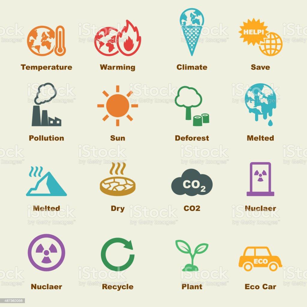 global warming elements vector art illustration
