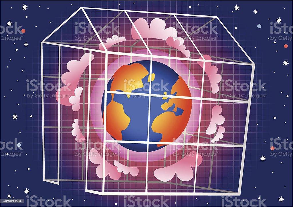 Global warming greenhouse effect vector art illustration