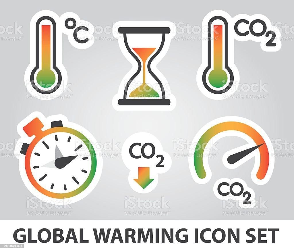 Global Warming Ensemble d'icônes stock vecteur libres de droits libre de droits