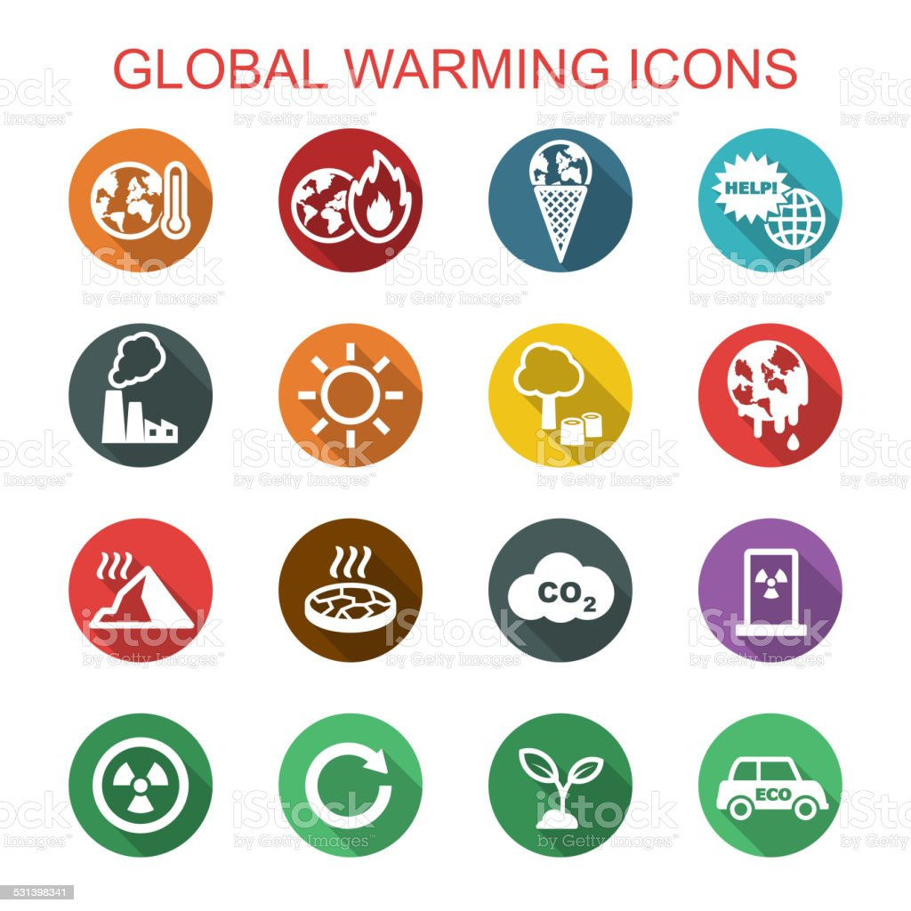 global warming long shadow icons vector art illustration