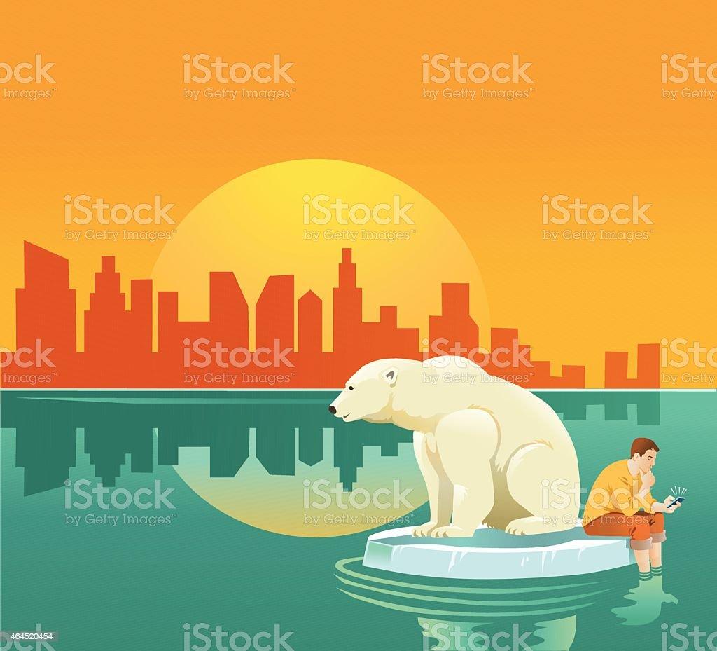 Global Warming - Man and Polar Bear on Ice Floe vector art illustration