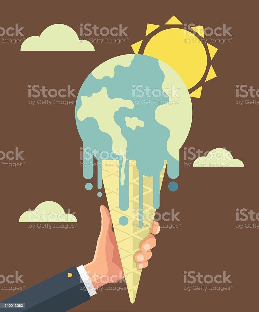 Global warming. Vector flat illustration vector art illustration
