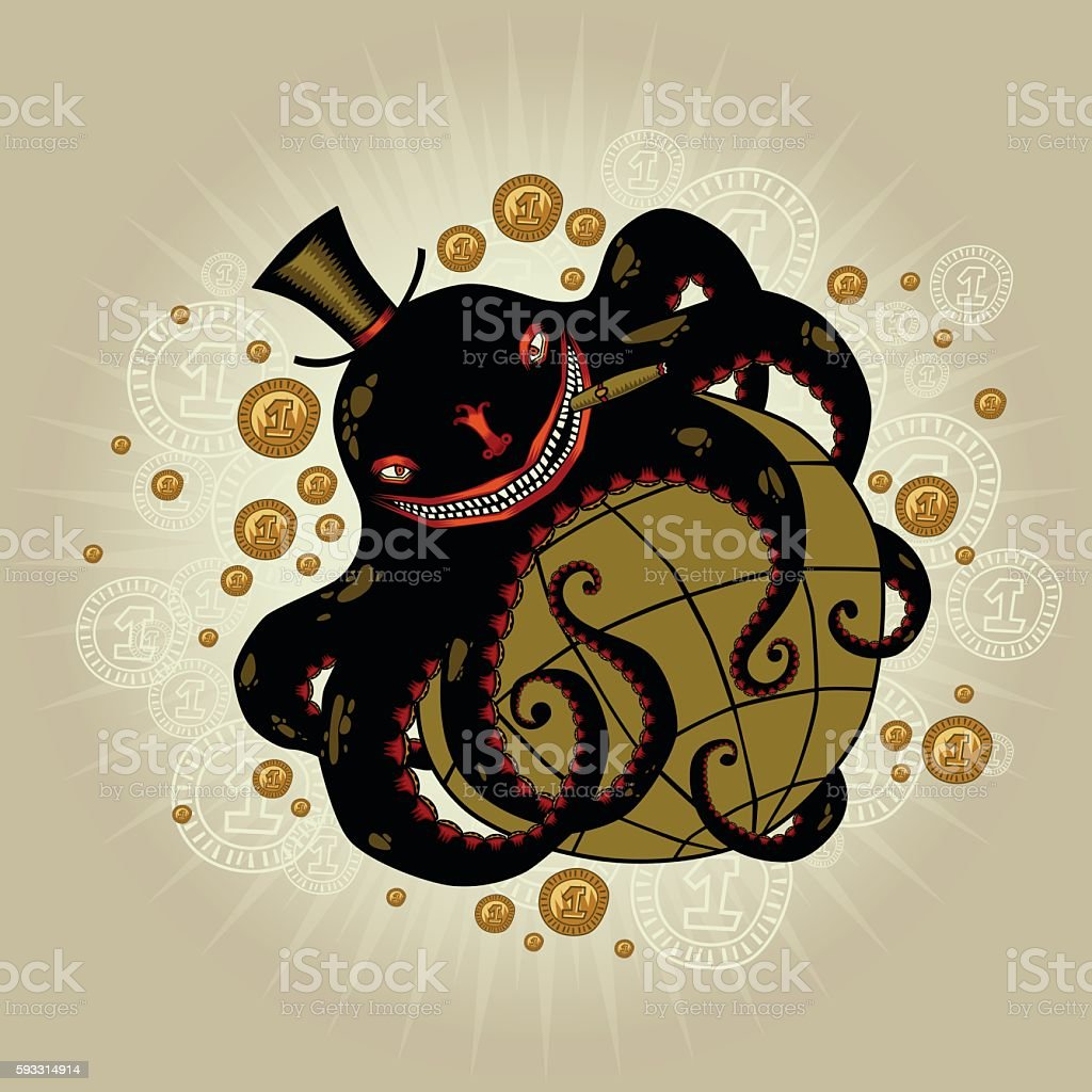 Globalism: octopus exciting World. Corporations and their impact on world. vector art illustration