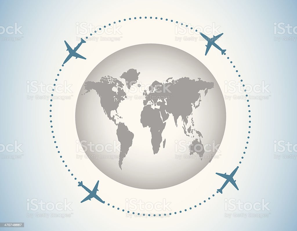 Globe and airplanes royalty-free stock vector art