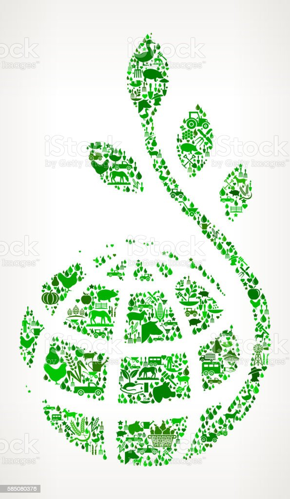 Globe and Plant Stem Farming and Agriculture Green Icon Pattern vector art illustration