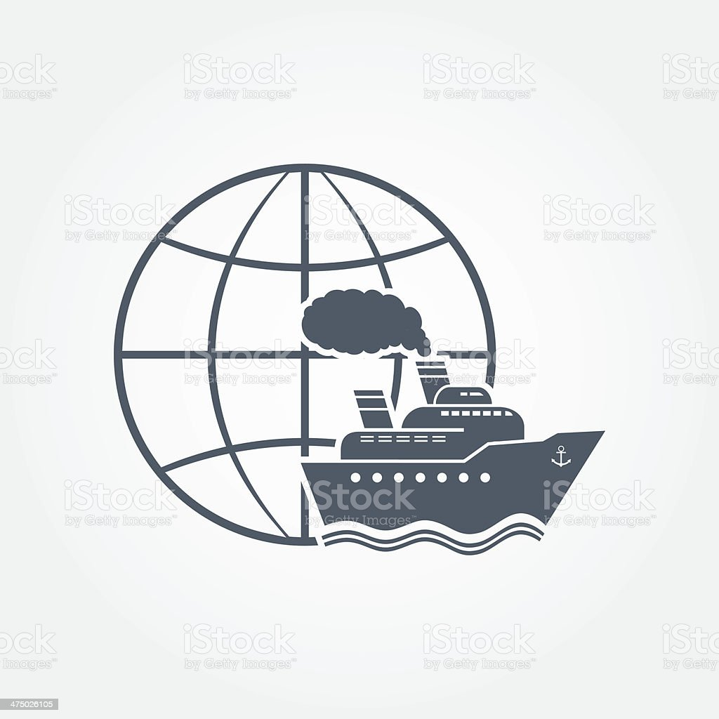 Globe and ship icon royalty-free stock vector art