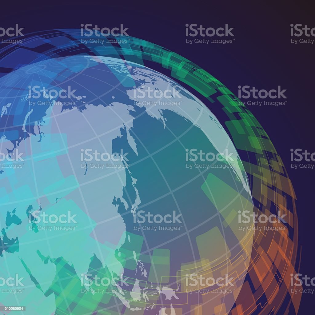 globe and world map, abstract image, vector illustration vector art illustration