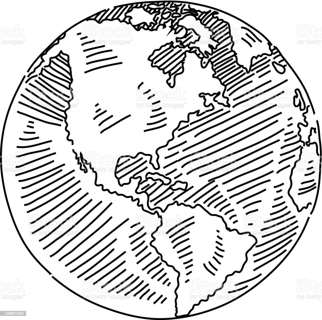 Globe Drawing vector art illustration