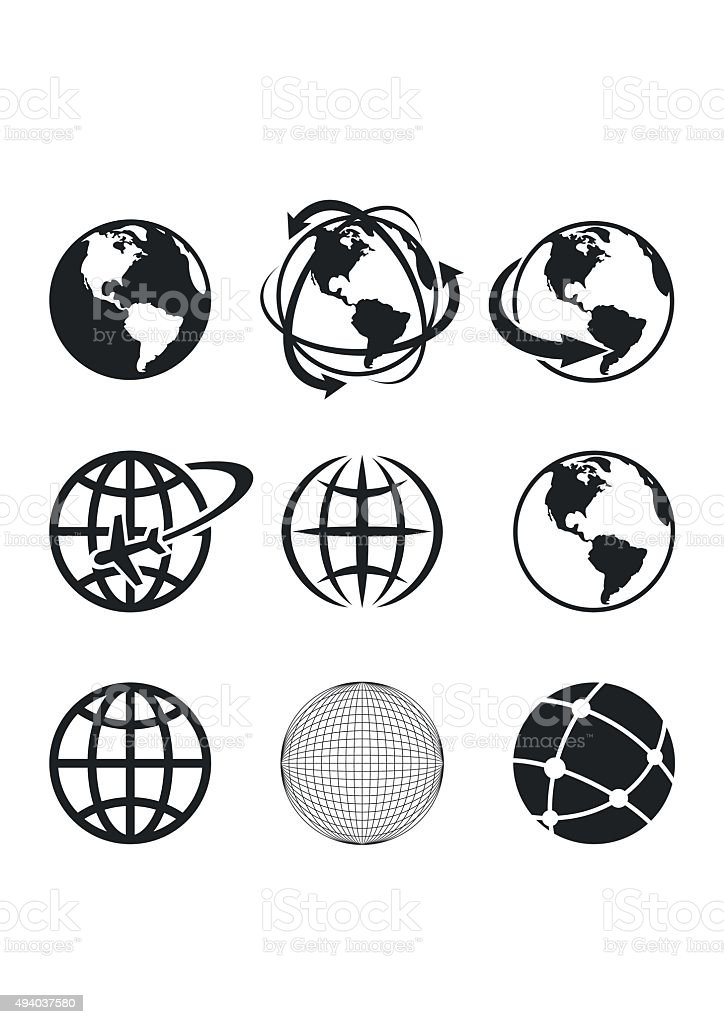 Globe Earth Icons Set. Vector Illustration vector art illustration