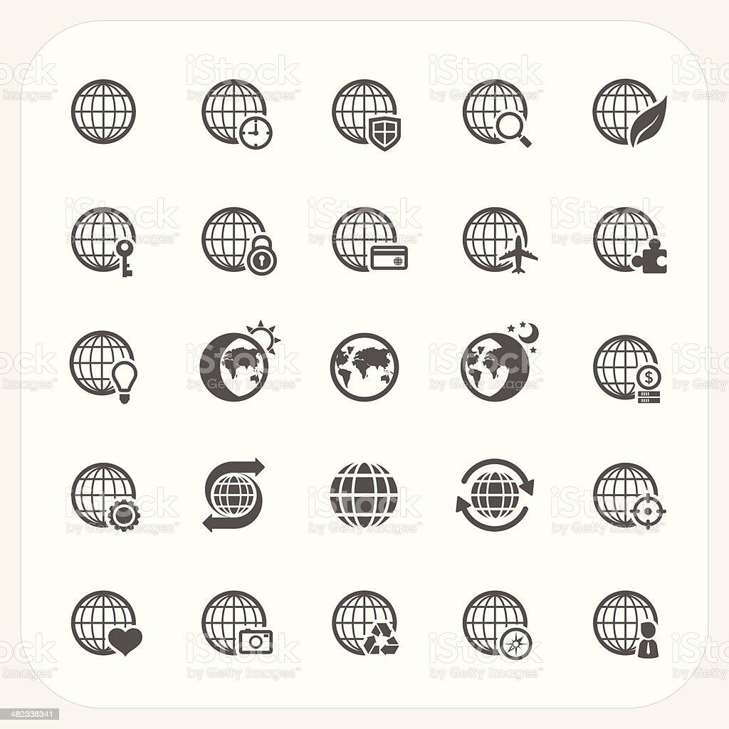 Globe earth vector icons set royalty-free stock vector art