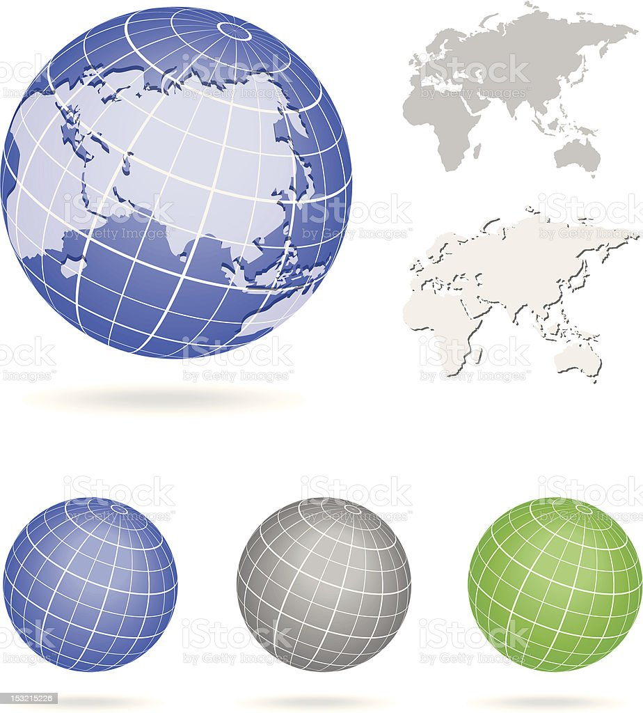 Globe Europe and Asia map blue icon stock photo