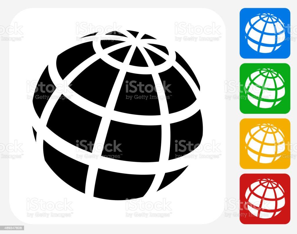 Globe Icon Flat Graphic Design vector art illustration